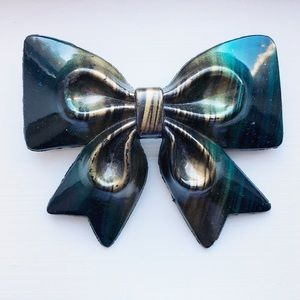 Large vintage 'galaxy' bow hair clip / barrette